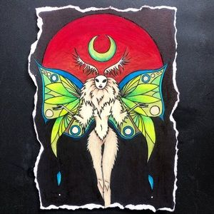 """Luna Moth"" Moon Spirit Art Print 5"" by 7"""